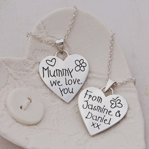 Mummy We Love You Silver Heart Necklace 2by Indivijewels