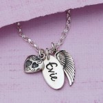 Personalised Name Charm with Angel Wing and Heart Charm Main Image