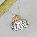 Personalised SIlver Name Charm Cluster Necklace Three Charms