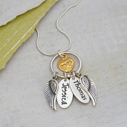 Personalised SIlver Name Charm Cluster Necklace Two Charms Main