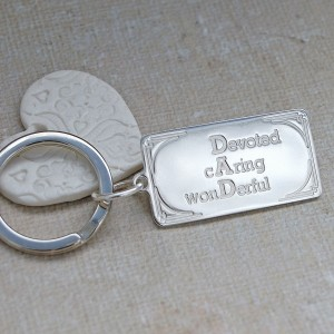 Personalised Silver DAD Keyring front