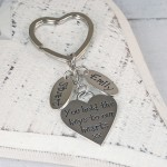 Personalised Silver Heart and Name Charms Keyring on Stainless Steel Heart Fob