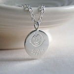 Personalised Silver New Mum Necklace Baby Laughing Front