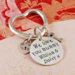 Personalised Silver We love you mummy Keyring 2