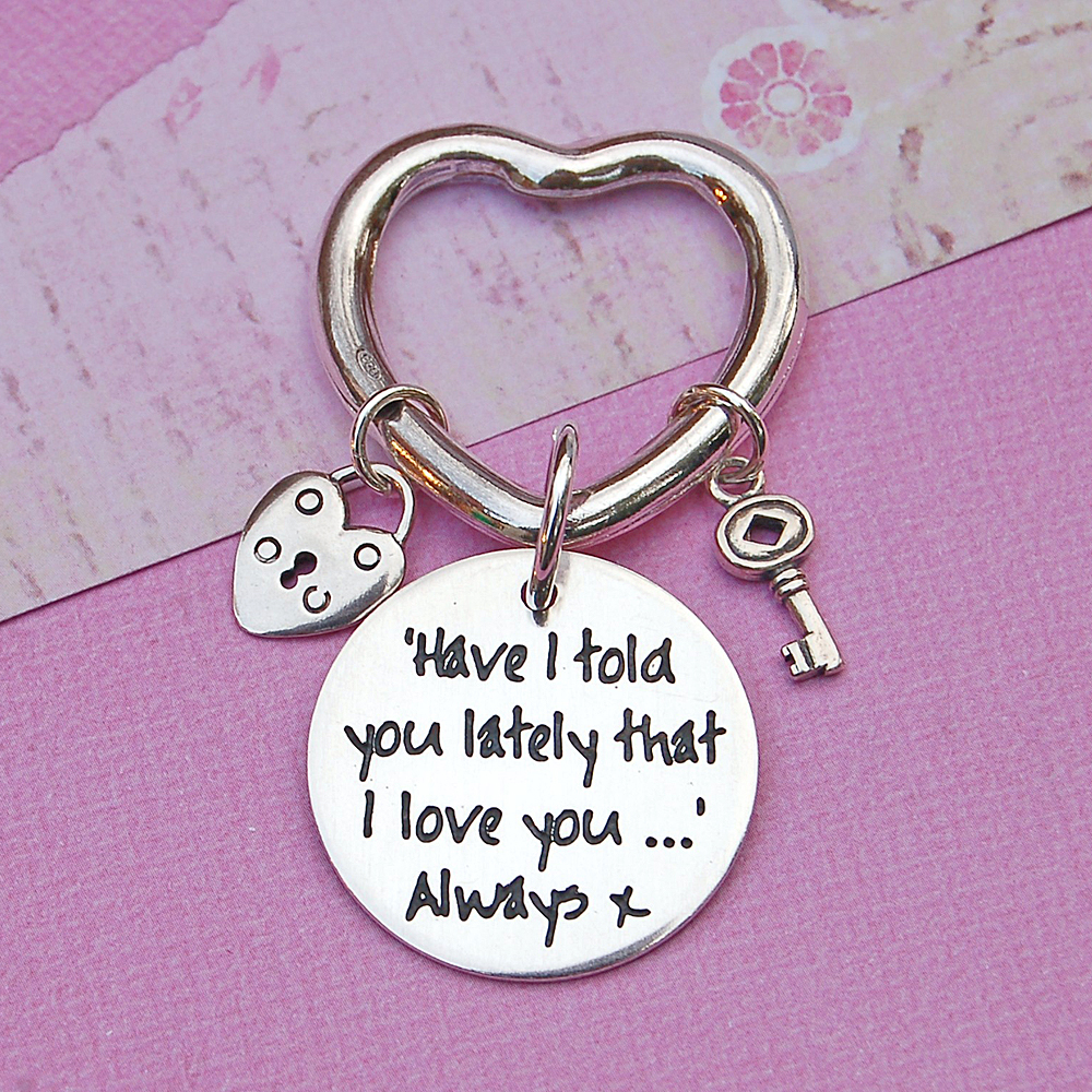... SIlver Heart Charms Keyring with Personalised Message ... 0aad7fcb15fe
