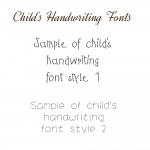 Samples of childrens handwriting fonts