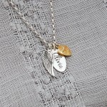 Silver Personalised Name Tag with Angel Wing and Heart Charm Gold Heart