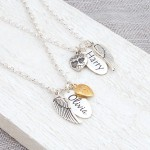 Silver Personalised Name Tag with Angel Wing and Heart Charm Gold and Silver