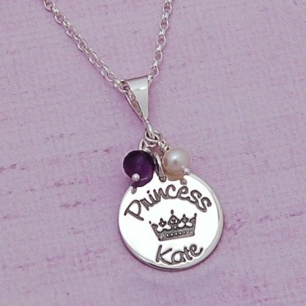 Silver Personalised Princess Necklace Main Image