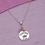 Silver Personalised Princess Necklace Pink Amethyst