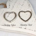 Sterling Silver and Stainless Steel Heart Keyring Split Rings