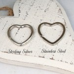 Sterling Silver and Stainless Steel Heart Keyring Split Rings