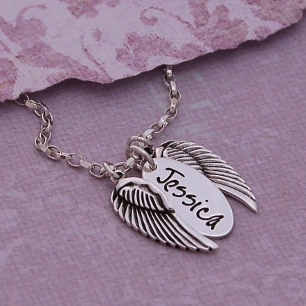 Sterling Silver Personalised Angel Wings Necklace Jessica Font Main Image