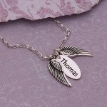Sterling Silver Personalised Angel Wings Necklace Thomas Font 3