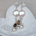 Coin Pearl, Silver Heart and smoky quartz earrings-1