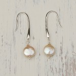 Coin Pearl and Silver Drop Earrings 2