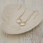 Coin Pearl and silver Drop Earrings 4