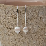 Coin Pearl and silver drop earrings1