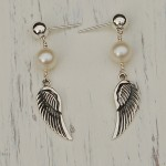 Freshwater Pearl & Angel Wing Earrings-1