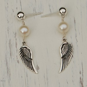 Freshwater Pearl & Angel Wing Earrings-1