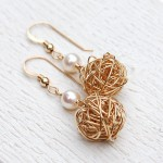 Gold Fill Birds Nest and Pearl Earrings