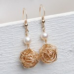 Gold Fill Birds Nest and Pearl Earrings 3