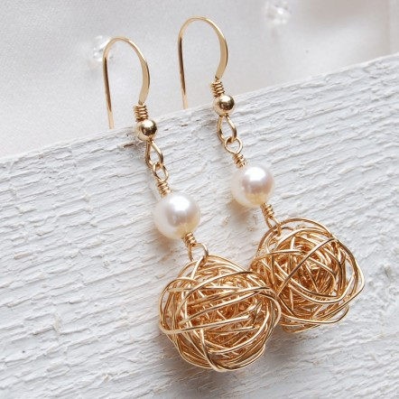 Gold Fill Birds Nest and Pearl Earrings 4