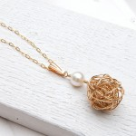 Gold Fill Birds Nest and Pearl Necklace 2