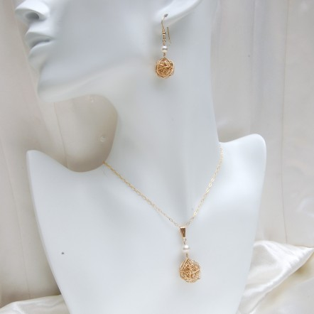 Gold Fill Birds Nest and Pearl Necklace and Earring