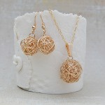Gold Filled Birds Nest Necklace and Earrings 2