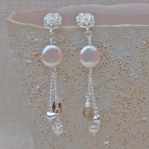 Pearl and Gemstone wedding earrings copy