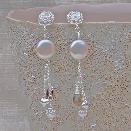 Pearl and Gemstone wedding earrings copy