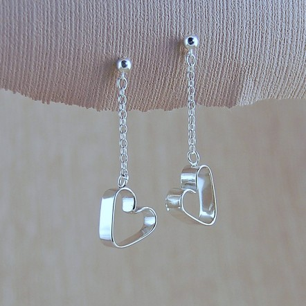 Silver Secret Heart Earrings 3