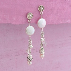Coin Pearl and Silver Rose Earrings