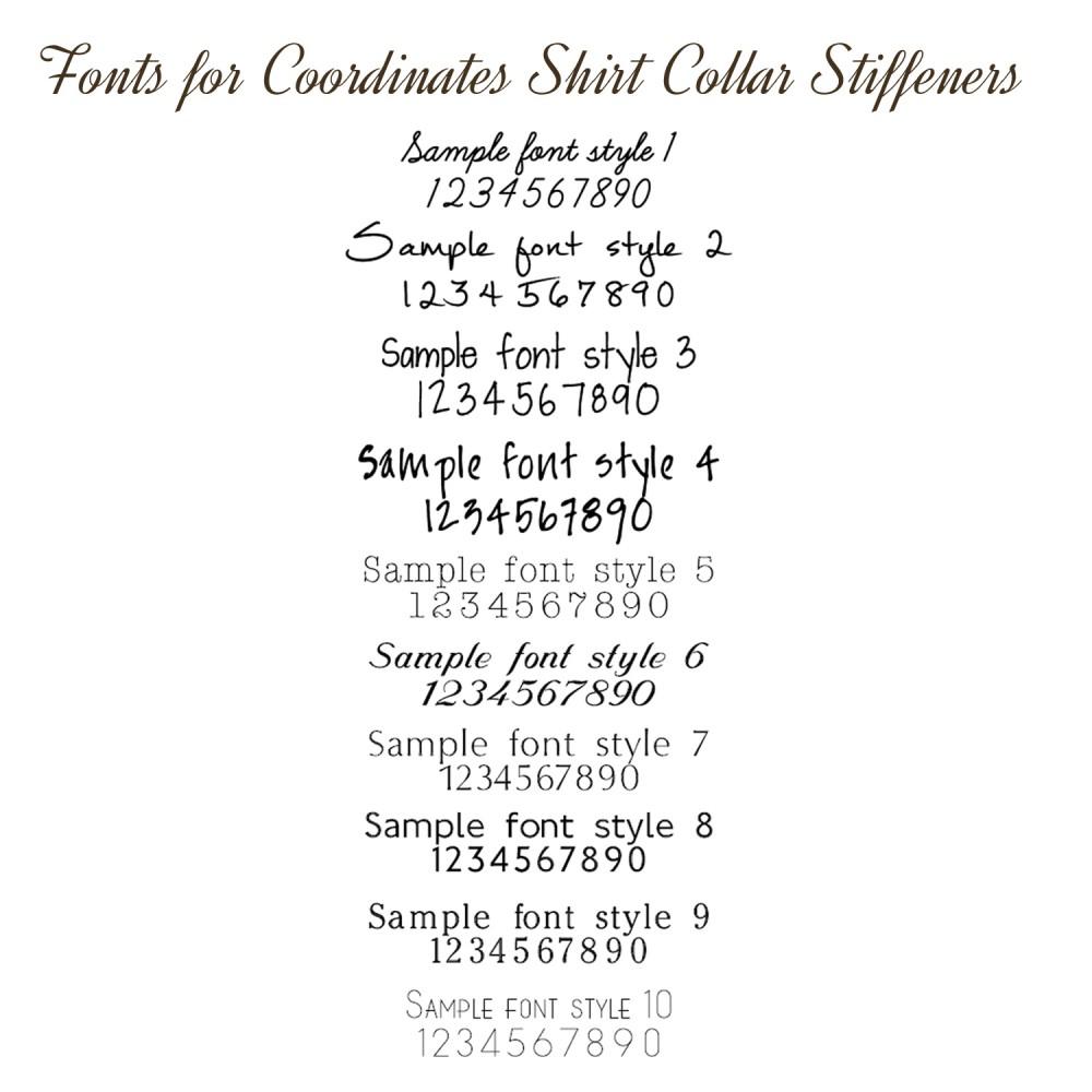 Silver Personalised Coordinates Collar Stiffeners
