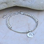 Girls Personalised Silver Bead and Bar Bracelet 4