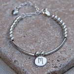 Girls Personalised Silver Bead and Bar Bracelet 5