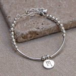 Girls Personalised Silver Bead and Bar Bracelet 6