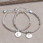 Girls Personalised Silver and Pearl Bracelets
