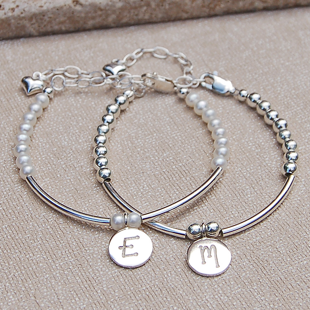 Girls Personalised Silver And Pearl Bracelet Indivijewels