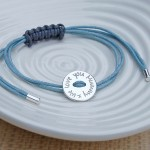 Personalised Silver Button Friendship Bracelet Text 3