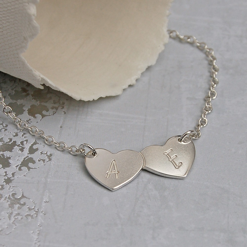 Personalised silver two hearts necklace indivijewels personalised silver double heart necklace with initials 1y aloadofball Image collections
