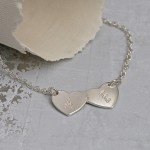 Personalised Silver Double Heart Necklace with Initials 1y