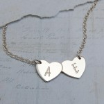 Personalised Silver Double Heart Necklace with Initials 2