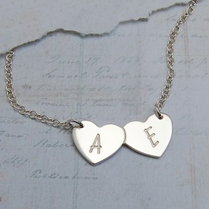 Personalised Silver Two Hearts Necklace with Initials