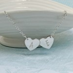 Personalised Silver Double Heart Necklace with Initials 3