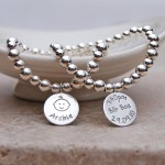 Personalised Silver New Baby Bracelet 2 by IndiviJewels