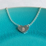 Personalised Silver Single Heart Pendant with Initial