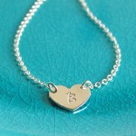 Personalised Silver Single Heart Pendant with Initial 2