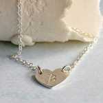 Personalised Silver Single Heart Pendant with Initial 4